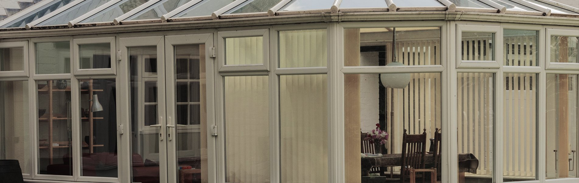 Wide image of a conservatory.