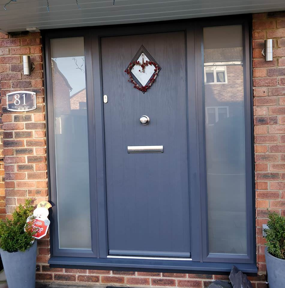 An image of a fitted front door, blue.