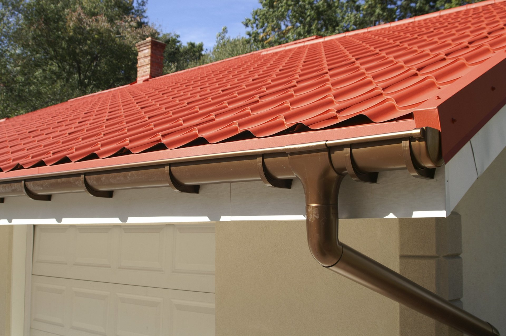 An image of brown plastic guttering