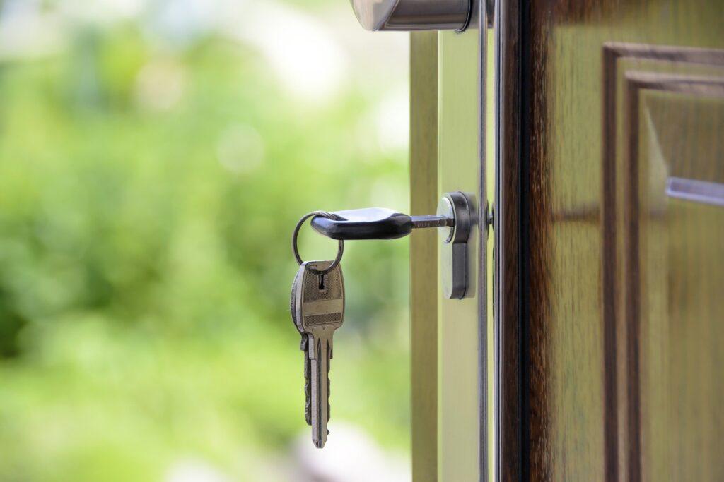 Image of keys in a door